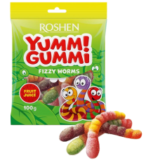 Цукерки желейні ROSHEN Yummi Gummi Fizzy Worms ВКФ 100г/22шт