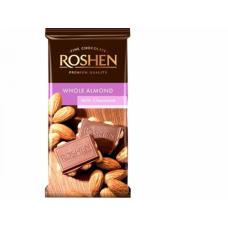 Шоколад ROSHEN Молочний з цілим мигдалем ВКФ 90г/21шт FP