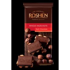 Шоколад ROSHEN Екстрачорний з цілим лісовим горіхом ВКФ 90/18шт FP