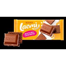 Шоколад ROSHEN Lacmi молочний з молочною начинкою та вафлею ВКФ 105/17шт