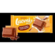 Шоколад ROSHEN Lacmi молочний з шоколадною начинкою та вафлею ВКФ 105/17шт
